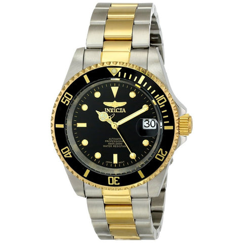 INVICTA Pro Diver Men 40mm Stainless Steel Gold + Stainless Steel Black dial NH35A Automatic 8927OB