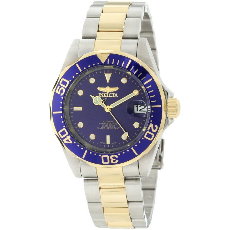 INVICTA Pro Diver Men 40mm Stainless Steel Gold + Stainless Steel Blue dial NH35A Automatic 8928