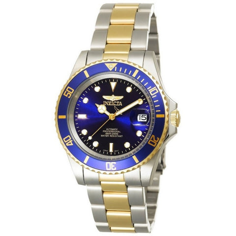 INVICTA Pro Diver Men 40mm Stainless Steel Gold + Stainless Steel Blue dial NH35A Automatic 8928OB