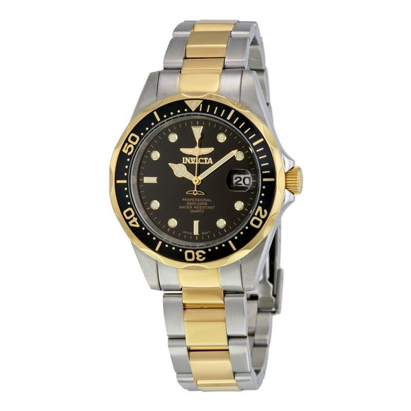 INVICTA Pro Diver Men 37.5mm Stainless Steel Gold + Stainless Steel Black dial PC32A Quartz 8934