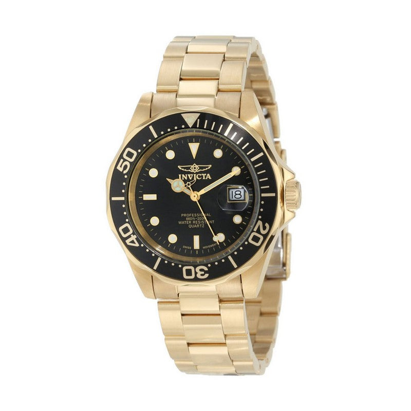 INVICTA Pro Diver Men 40mm Stainless Steel Gold Black dial 705 Quartz 9311