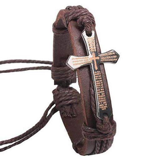 Arpachshad Bracelet with brown cross in brown leather