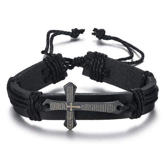 Arpachshad Bracelet with black cross in black leather