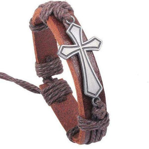 Arpachshad Bracelet with silver cross with brown leather