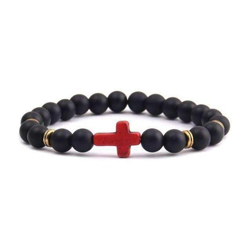 Nahum Bracelet with red cross, matte black beads and golden steel