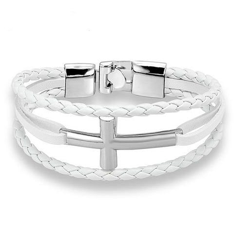Hyrcanus Bracelet with white rope band and silver cross