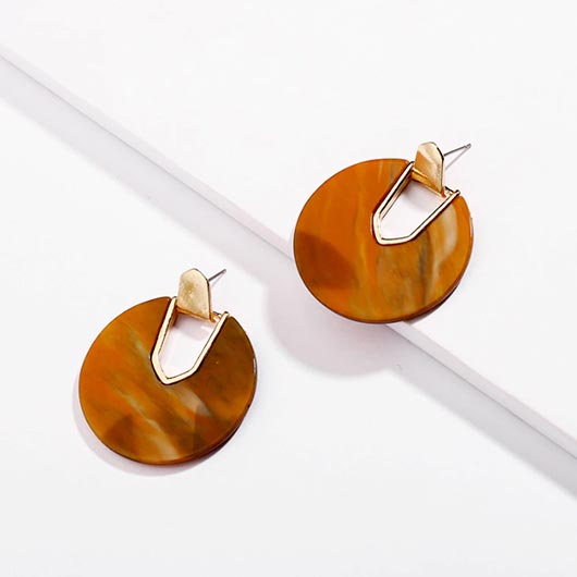 Vashti Earrings in summer brown with golden metal