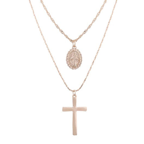 Simon Necklace with Jesus cross pendant and holy Mary pendant