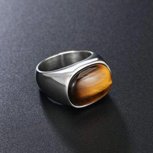 Titus Purity Ring in silver with tiger eye design