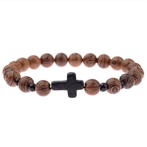 Heman Bracelet with wooden beads and large black steel cross