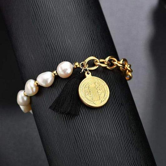 Andreas Bracelet with pearls and gold steel