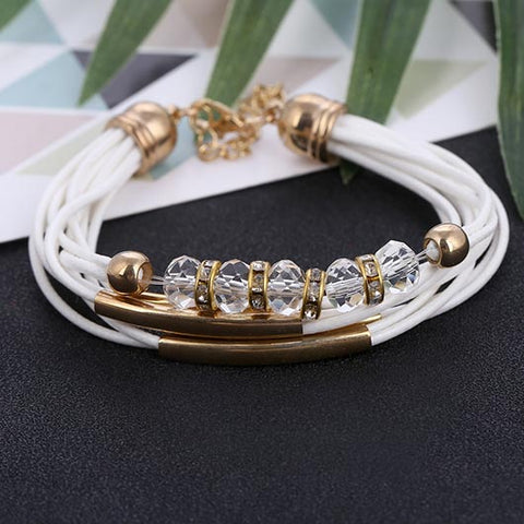 Martha Bracelet with crystals in white