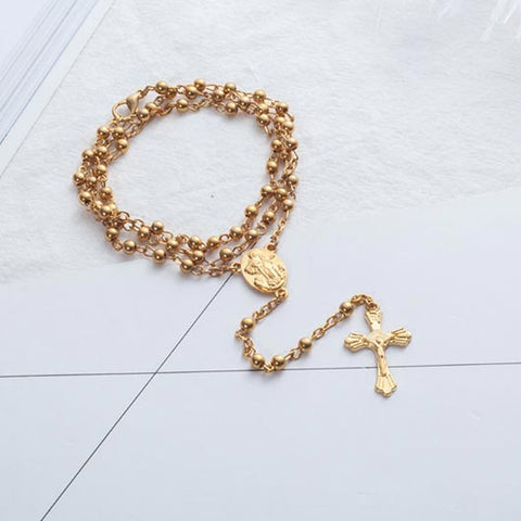 Timea Rosary with gold pearls and golden cross pendant