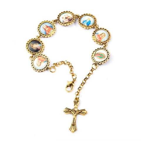 Petrus Bracelet rosary with picture frames in gold