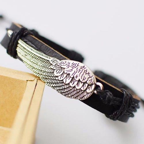 Raphael Bracelet with black leather and silver steel wing