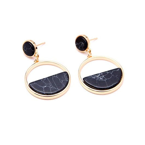 Priscilla Earrings with black natural stones