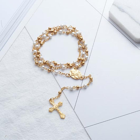 Timea Rosary with gold and white pearls and golden cross pendant