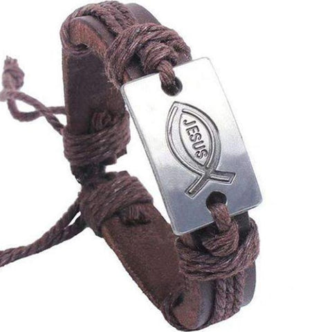 Arpachshad Bracelet with Jesus love in brown leather
