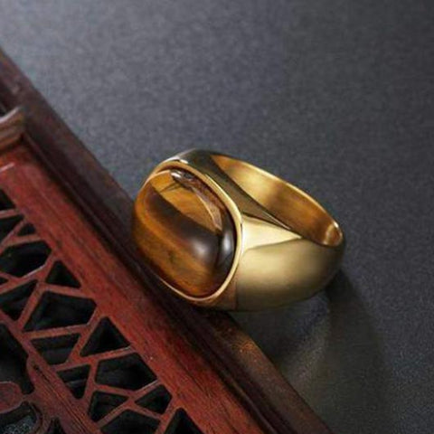 Titus Purity Ring in gold with tiger eye design