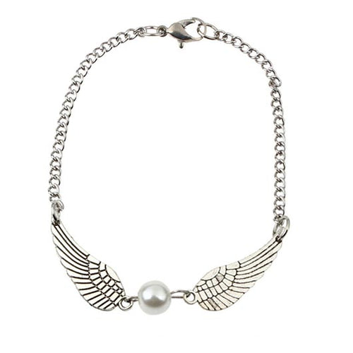 Levi Bracelet in silver steel with wings and a pearl