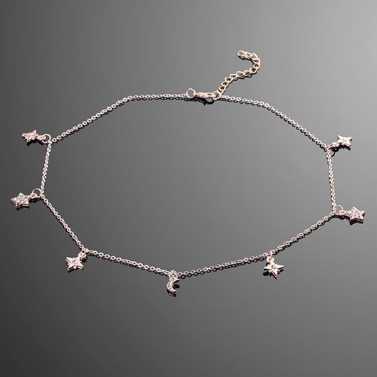 Leah Necklace in rose gold with star pendants