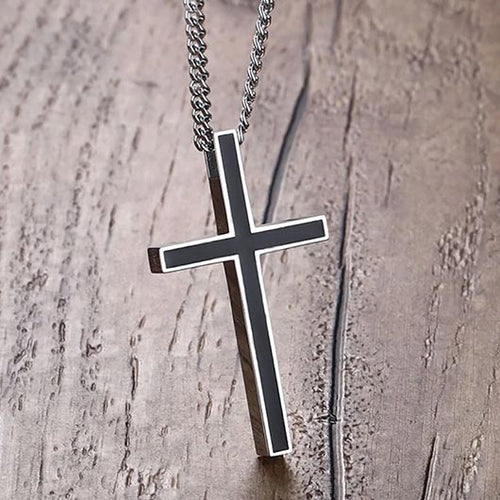 Reba Necklace in stainless steel with a black cross