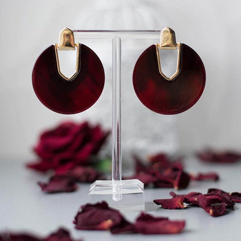 Vashti Earrings in red with golden metal