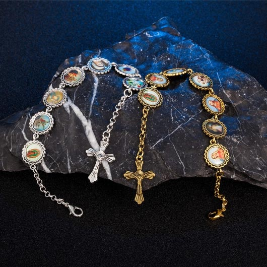 Petrus Bracelet rosary with picture frames combination