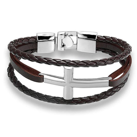 Hyrcanus Bracelet with brown rope band and silver cross