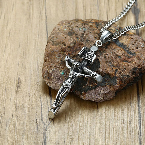 Nadab Necklace with Silver Jesus Metal Pendant