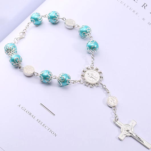 Maria Bracelet with blue pearls and cross pendant