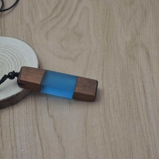 Starfall Necklace in blue raisin with wood elements