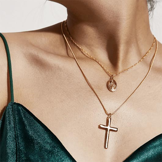 Simon Necklace with Jesus cross pendant and holy Mary pendant Wear On