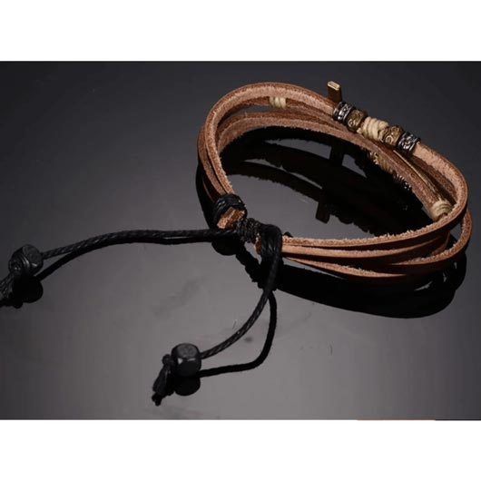 Nethinim Bracelet with golden cross and brown leather