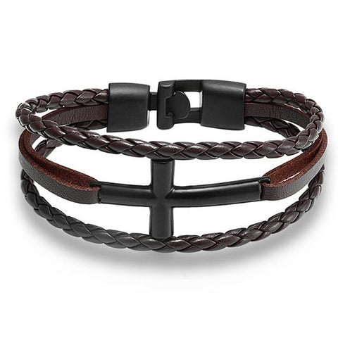 Hyrcanus Bracelet with brown rope band and black cross