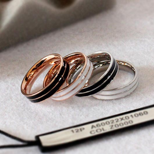 Salah Purity Ring in white and black with rose gold and silver steel collection