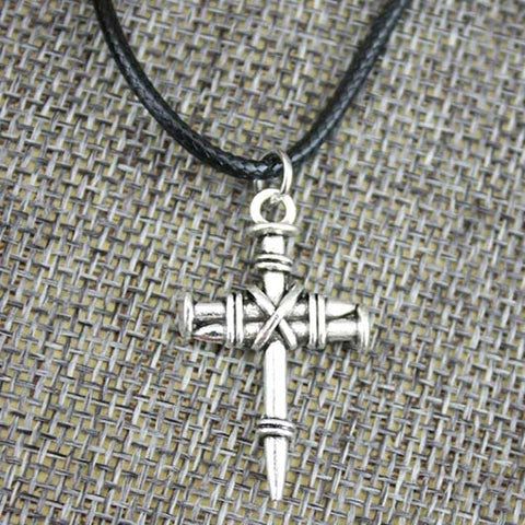 Eden Necklace in silver steel Jesus cross made out of nails