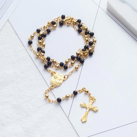 Timea Rosary with gold and black pearls and golden cross pendant