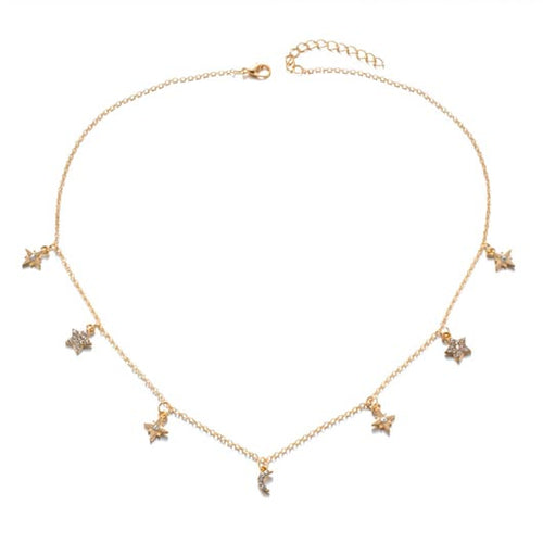 Leah Necklace in golden color with star pendants