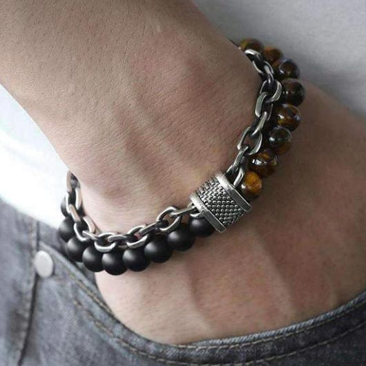 Adam Bracelet with black glass and tiger stone