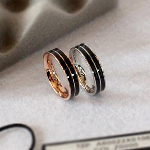 Salah Purity Ring in black with rose gold and silver steel