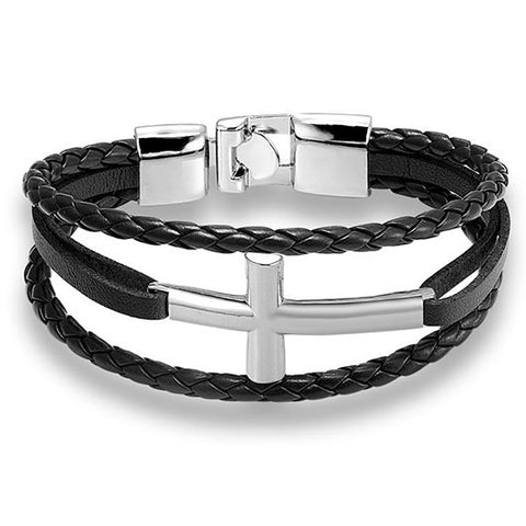 Hyrcanus Bracelet with black rope band and silver cross