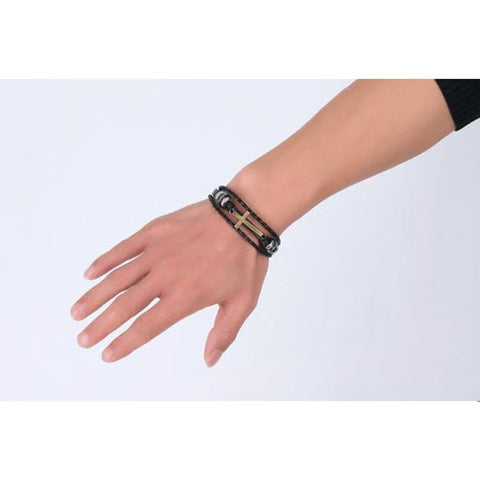 Nethinim Bracelet with golden cross and black leather Wear On