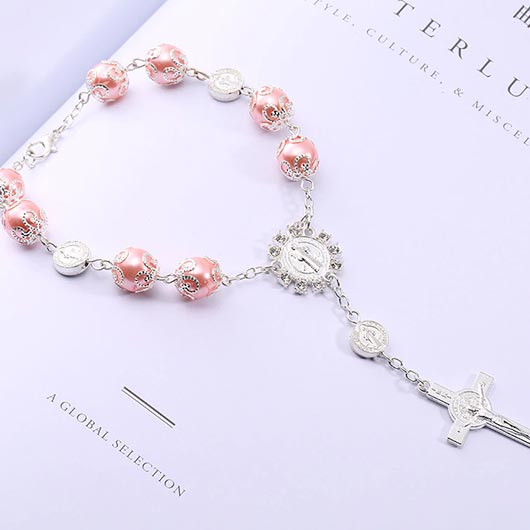 Maria Bracelet with pink pearls and cross pendant