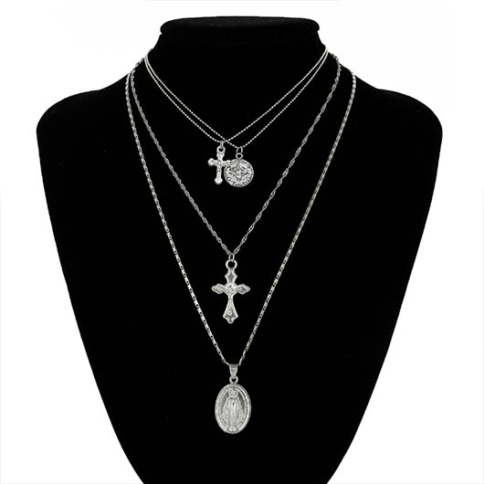 Iskariot Necklace with two holy Mary pendants and two Jesus on the cross pendants in silver