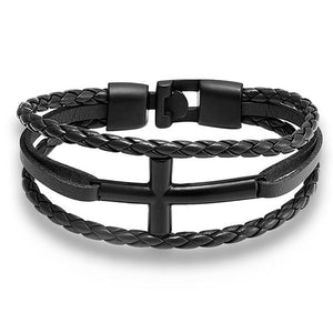 Hyrcanus Bracelet with black rope band and black cross