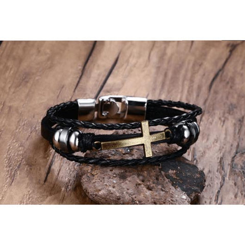 Nethinim Bracelet with golden cross and black leather