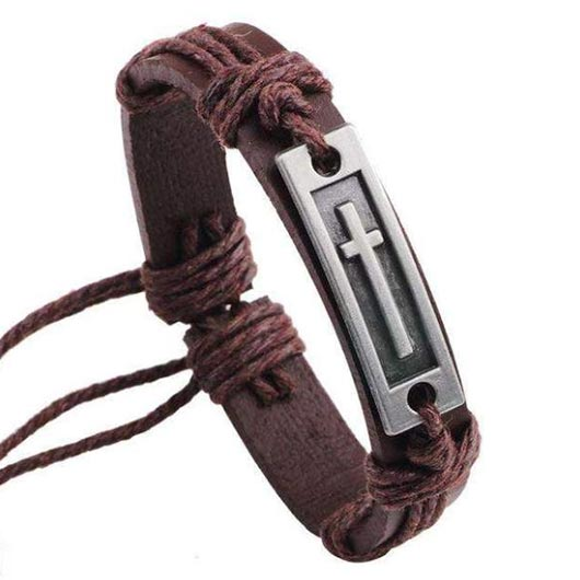 Arpachshad Bracelet with steel cross in brown leather