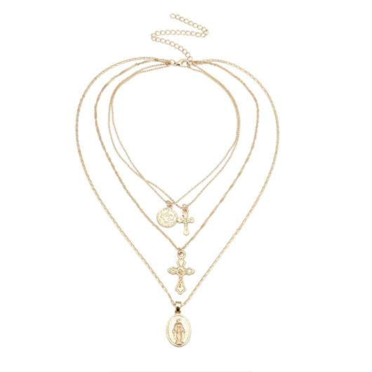 Iskariot Necklace with two holy Mary pendants and two Jesus on the cross pendants in gold
