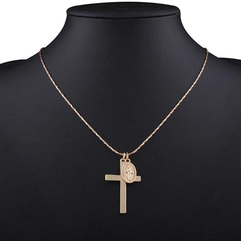 Nathanael Necklace with cross pendant and coin charm in gold